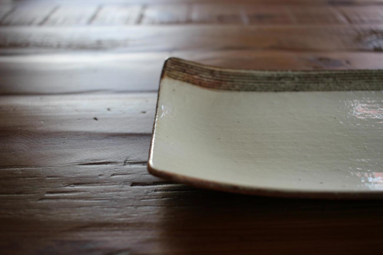 L彫焼き物皿