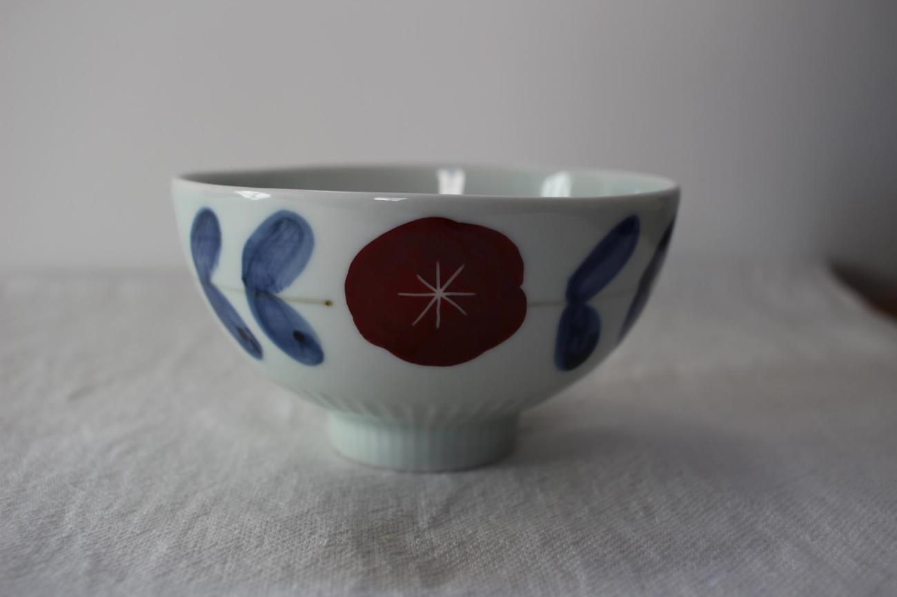 染錦花繋ぎ飯碗
