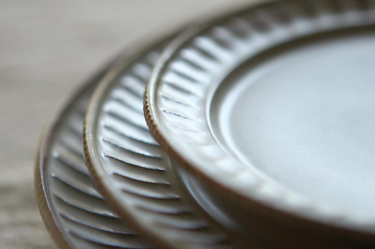 鎬リム皿 L 白色