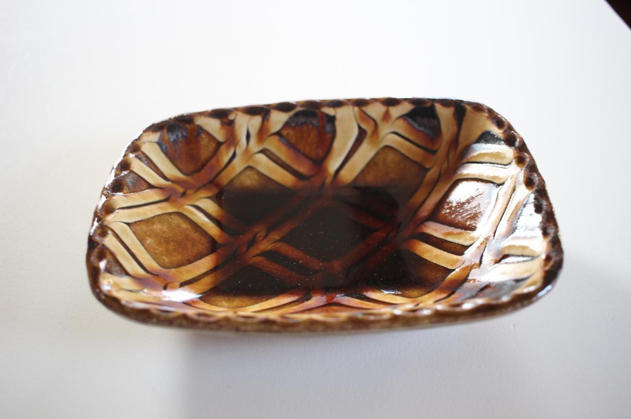 スリップウェア 長方形鉢