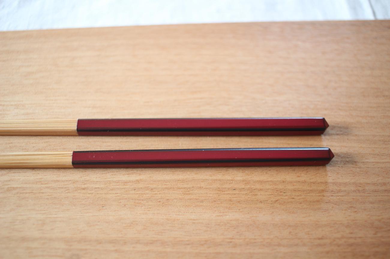 ダイヤカット研出箸(赤)