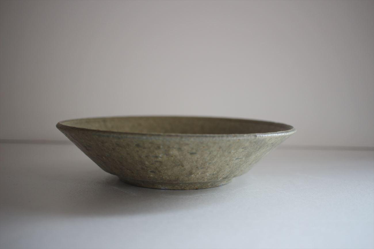 平鉢6寸リム 灰釉