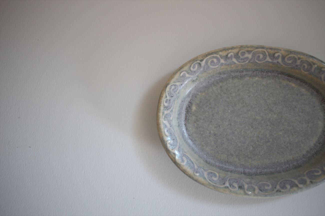 楕円皿 小 縁イッチン模様 フジ色