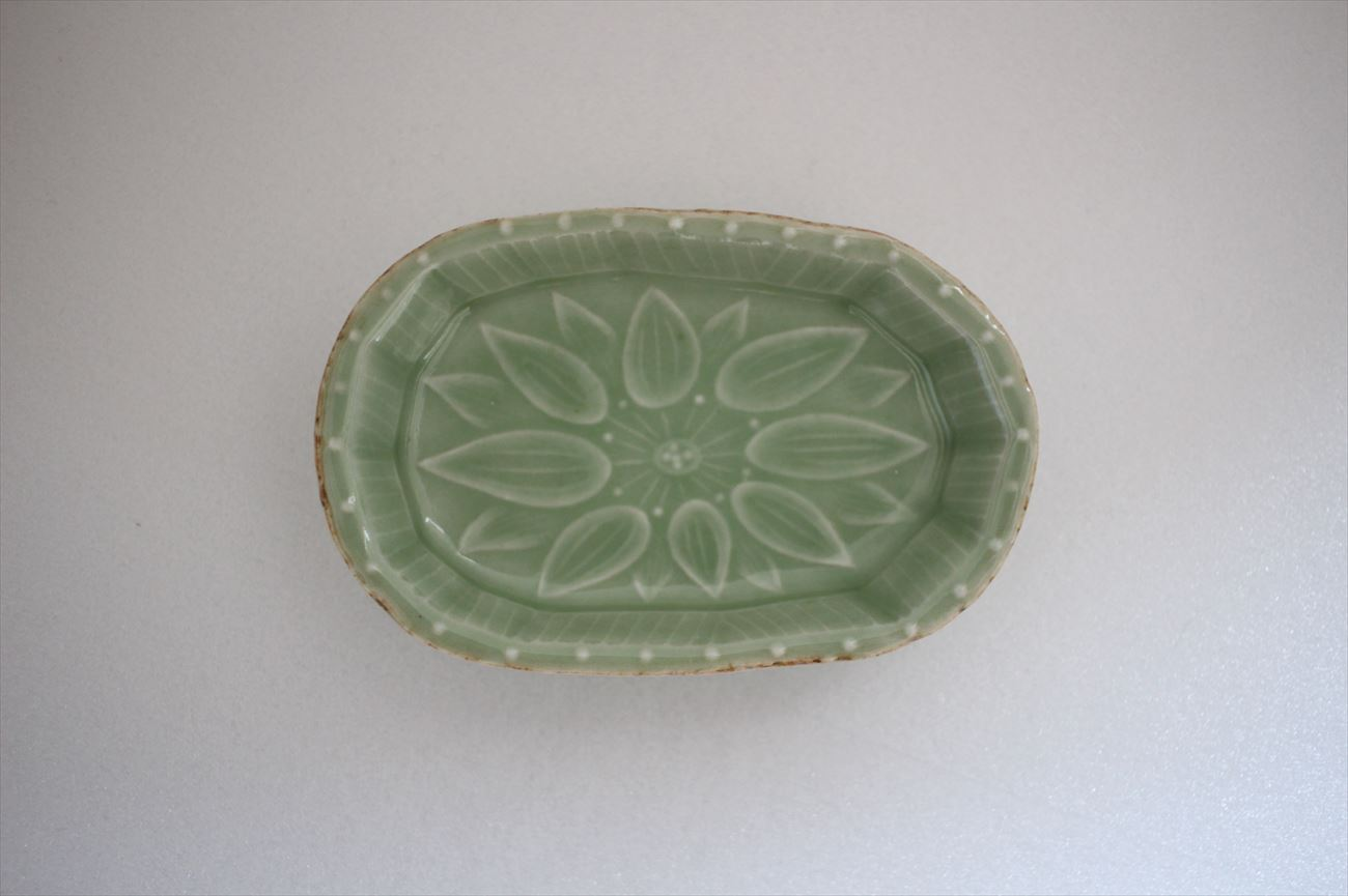 豆皿 緑花