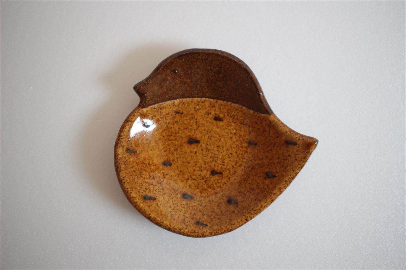 トリ小皿 茶色