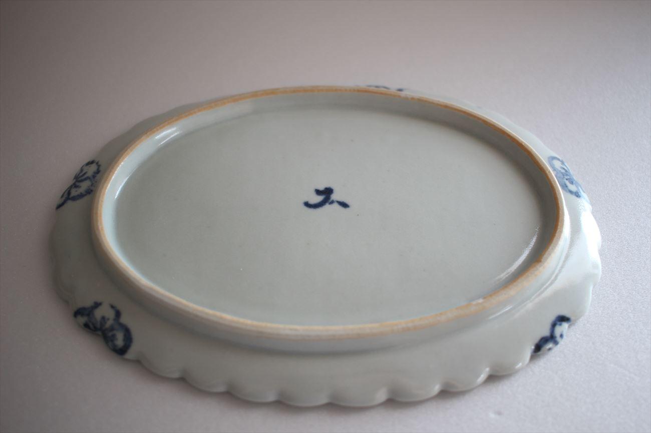 梅花印判輪花楕円平皿