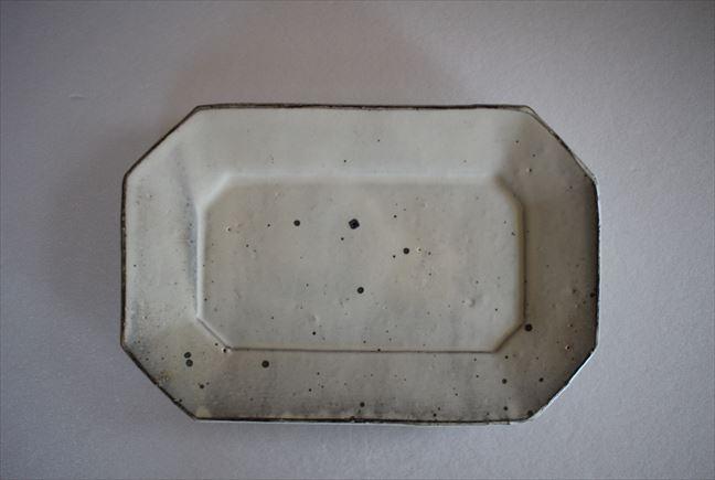 粉引6.5寸八角長皿
